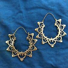 Big Fancy Tribal Hoop Boho Earrings in Brass