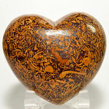 "2.6"" Natural Calligraphy Script Stone Heart Coquina Jasper Crystal Mineral India"