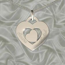 ♥ ♥ Doppel Herzanhänger , Inkl. Gravur, Silber 925, , Namenskette, Initiale ♥ ♥