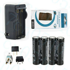 4 X 6000mAh 18650 3.7V li-ion Rechargeable Battery For Torch Flashlight +Charger
