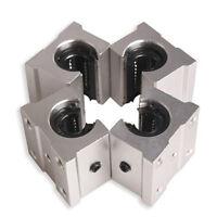 4 X Sbr12Uu 12Mm Aluminum Linear Motion Router Bearing Block, Silver O5R9