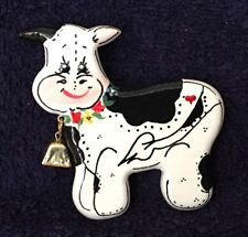 Hand Painted Wooden Cow Pin