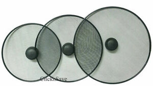 Pack Of 3 Kitchen Frying Pan Splatter Screen Cover Guard Protective Lid Mesh Fat