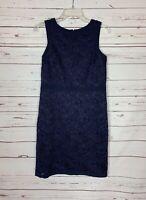 Ann Taylor Women's 8P 8 Petite Blue Lace Sleeveless Sleeveless Summer Dress NEW