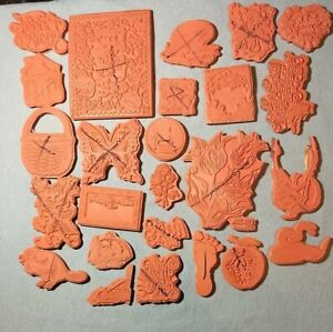 Lot Of 25 Assorted Unity Stamp Co Red Rubber Stamps Nice Selection Free Shipping