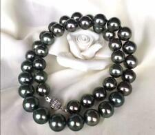 """AAAA 18""""10-11mm natural real TAHITIAN black green pearl necklace 14K Yellow gold"""