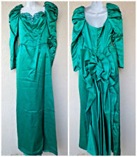 Vtg 80s Prom Dress Green Satin Huge Bow & Bustle Pouf Sleeve Formal Event Party