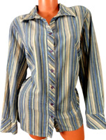 Fashion bug blue beige striped women's button down 3/4 sleeve plus top 18/20W