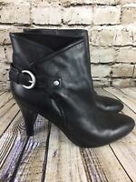 Nine West Ankle Boots Black Leather Buckle Heels Size 8.5
