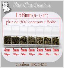 MIX 1500 ANNEAUX+BOITE RING JONCTION BRELOQUE PERLE BRACELET CHARM BRONZE *JU1