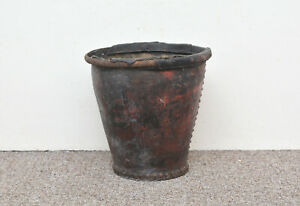 early antique fire bucket old original leather fire bucket - FREE DELIVERY