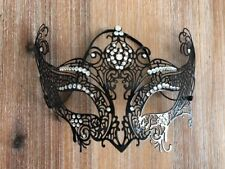Black Metal Bedazzled Lace Mask Costume Halloween Girls