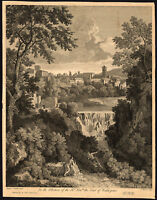 Antique Master Print-LANDSCAPE-ITALIANATE-LAKE-WATERFALL-Mason-Poussin-1744