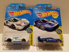 Lot of 2 Different Hot Wheels - 2016 Ford GT Race Blue White Ford Performance