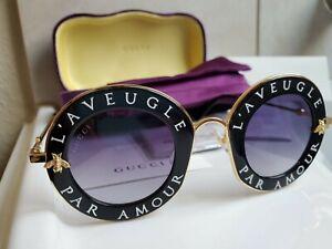 New Gucci GG0113S Sunglasses L'Aveugle Par Amour Black