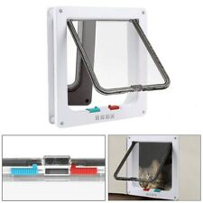 White 4 Way Locking Lockable Pet Cat Puppy Dog Magnet Safe Flap Door Gate Large