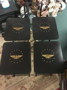 Set of Four ARTEX Eagle /stars Folding TV Tray Snack Serving Tables & Stand