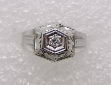 14K WHITE GOLD VINTAGE ART DECO DIAMOND RING -  SIZE 6.5  -  LB2204