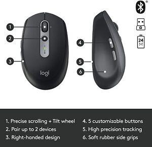 Logitech M590 Silent Wireless Mouse Multi-Device Bluetooth BT 2.4GHz Black NEW