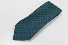 cravatta tie krawatte MARINELLA NAPOLI fiori verde 100% seta soie silk (106)