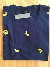 NWT J Crew Women's M Beaded Lemons T-Shirt Navy #G1452