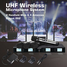 Pro Audio UHF Wireless Microphone System 4 Channel Handheld Karaoke Mic Metal