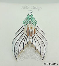 Mermaid Tail Pearl Cage Sterling Silver Locket Green Crystals Ariel CHARM ONLY