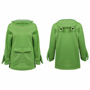 Womens Cute Mouth Frog Hoodie Long Sleeve Sweatshirt Hooded Pullover Tops XXL