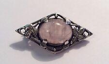 Vintage Arts & Crafts style silver & rose quartz brooch, with leaves design