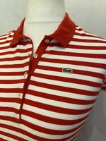 Lacoste Dress MEDIUM Cotton Pique Polo Style Red & White Striped