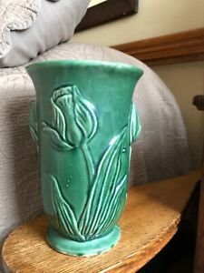 McCoy 1941 Vase Tulip Embossed Green Pottery Made in USA