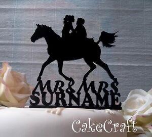 Black Acrylic Horse riding  Mr & Mrs Wedding,anniversary cake topper decorations