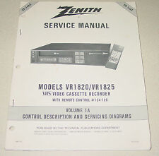 Zenith Service Manual VR-34AS for VHS VCR VR1820/1825 Video Cassette Recorder
