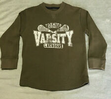 Childrens Place Boys olive green & white varsity lacrosse Thermal L/S Shirt 5-6
