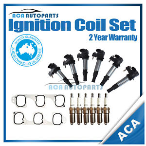 Ignition Coils With Gasket for Holden Crewman VZ Statesman WL 3.6L Spark Plugs
