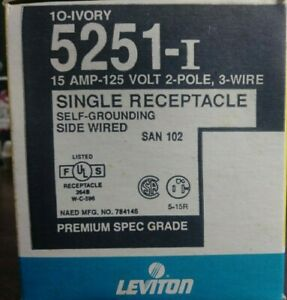 LEVITON 5251-I SINGLE RECEPTACLE OUTLET 15 AMP 125 VOLT 2 POLE NEW IN BOX OF 10