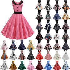 Women Vintage 50s 60s Rockabilly Swing Pinup Dress Sleeveless Evening Party Midi