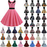 Women Floral 50s 60s Vintage Rockabilly Swing Pinup Evening Party Pleated Dress