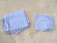 Tommy Hilfiger Flat Sheet Pillow Case Set Twin Size Bed Monogram Blue Bedding