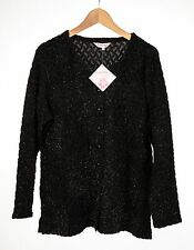 Michele Hope *Size 18 to 20* Mosaic Boucle Cardigan Black Button Front