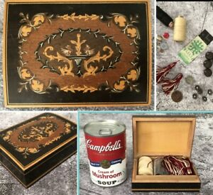 Beautiful Vintage Wooden Sorrento Treen Ware Box Inc Sewing Bobbins Buttons Etc.