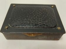 Vintage STAMP DESK BOX Art Crafts Style Pebble Top Steel Brass Nail Trim Austria