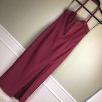 X-194 Wayf  Sydney Lace Up Convertible Halter Maxi Dress Red Slit Back Zip L New