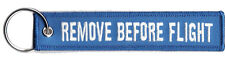 REMOVE BEFORE FLIGHT LUGGAGE KEYCHAIN TAG KEY RING PILOT CABIN CREW WHITE/BLUE