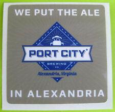 PORT CITY BREWING COMPANY 3 inch brown & blue Beer STICKER Alexandria, VIRGINIA