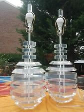 Karl Springer style Stacked Lucite Beehive Lamps (2) George Bullio Mid Century