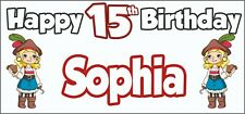 Girl Pirate 15th Birthday Banner x 2 - Party Decorations - Personalised ANY NAME