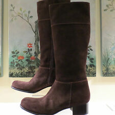 NWB WOMENS AUTHENTIC PRADA MIU MIU TALL BROWN SUEDE ZIP BOOTS 40 MADE IN ITALY