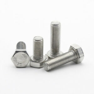 M9 Hexagon Head Bolts 304 Stainless Steel Hex Head Screws Pitch 1.0 / 1.25