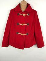 WOMENS MARKS & SPENCER RED SHORT DUFFLE STYLE WINTER COAT JACKET SIZE UK 12